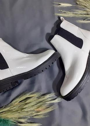 Ботинки лаковые лак берцы деми низкий ход  демисезонные сапоги полусапоги полусапожки
