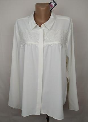 Блуза шикарная нарядная с кружевными вставками большого размера marks&spencer uk 22/50/4xl