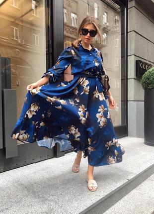 Длинное платье в пол цветочный принт 29