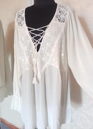 Франция castaluna нарядная блуза рубашка кроше вискоза с длинным рукавом вышивка бохо
