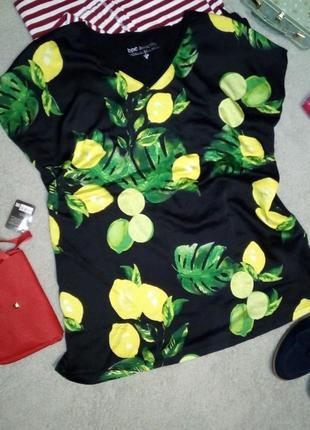 Легкая блуза футболка красивый орнамент лимоны батал