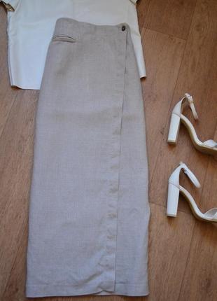 Olsen натуральная льняная юбка лен оригинал длинная макси качественная бежевая на запах