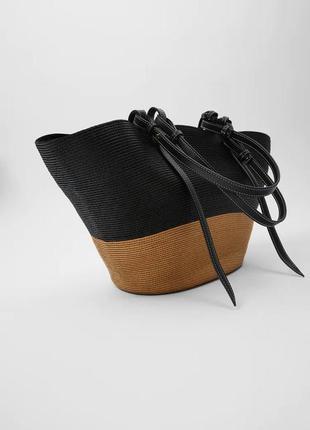 Zara двухцветная плетеная сумка-корзинка