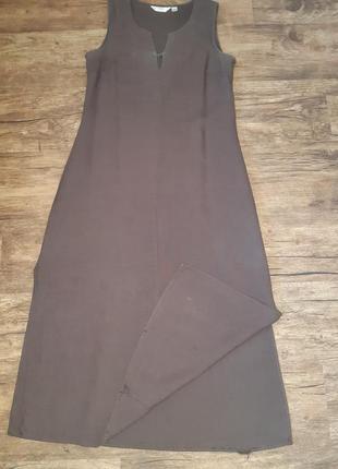 Шоколадное льняное платье next