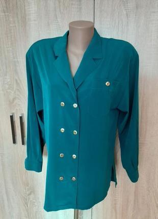Красивая, двубортная блуза цвета морской волны