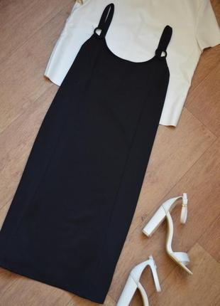 Colins черное платье на бретельках прямое баговое однотонное стильное миди по колено