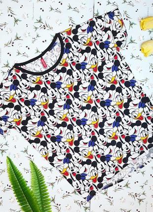 🎁1+1=3 крутая модная белая футболка хлопок с микки h&m оверсайз, размер 44 - 46