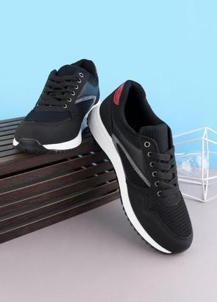 Стильные черные мужские кроссовки деми модные кроссы сетка