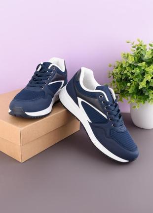 Стильные синие мужские кроссовки деми модные кроссы сетка