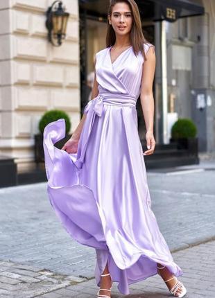 Шелковое атласное длинное платье
