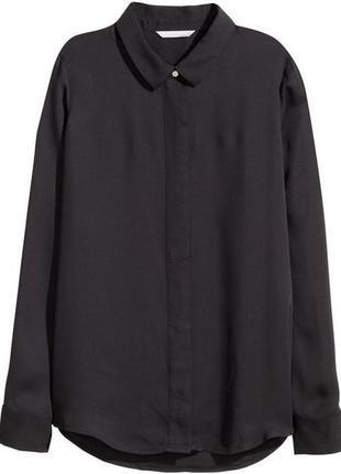 H&m шифоновая рубашка блузка блуза однотонная базовая с длинным рукавом прямая