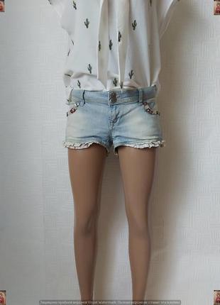 Новые стильные короткие джинсовые шорты с пуговичками и хлопковой вставкой, размер м-л