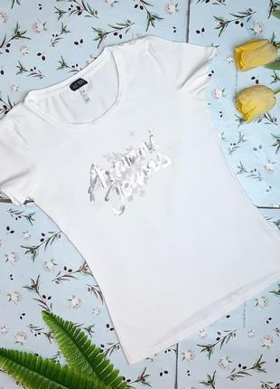 🎁1+1=3 базовая белая женская футболка с пайетками armani jeans оригинал, размер 44 - 46