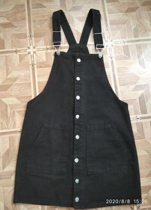 Черный джинсовый женский сарафан размер 42-44