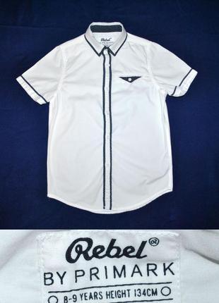 Рубашка с коротким рукавом сорочка для школьника от rebel р.134(8-9лет)