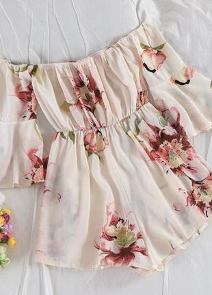 Ромпер цветочный принт спущенные плечи айвори