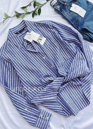 Zara рубашка в полоску в стиле рустик