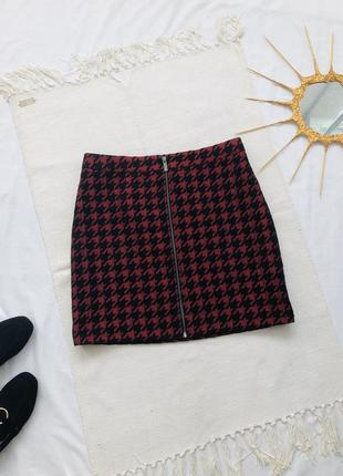 Мини юбка карандаш в гусиную лапку