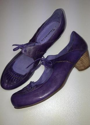 Фіолетові шкіряні зручні туфлі крута якість шкіри