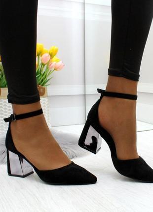 Новые женские чёрные туфли лодочки  на каблуке