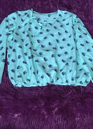 Бирюзовая блуза