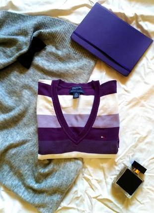 Базовий жіночий фіолетовий джемпер в смужку від tommy hilfiger