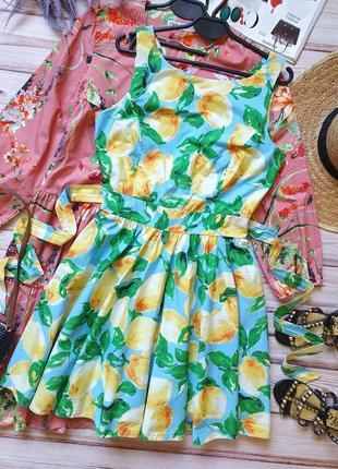 Натуральное летнее коттоновое платье в пин ап стиле с лимонами