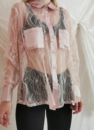 Винтажная кружевная шёлковая рубашка