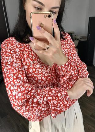 Хлопкова блуза в квітковий принт3 фото