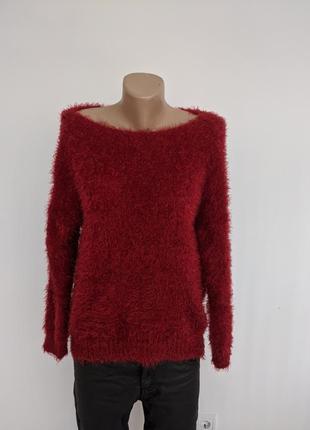 🔥🔥🔥 пушистый красный винный свитер турция м