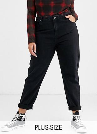 Стильные mom/мом джинсы чёрные батал