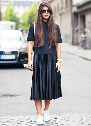 Шикарная плиссированая черная юбка миди coste rebel  р. 42-44-46-48 (xs/s)