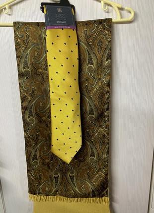 Шарф шерсть, шелк. галстук шелк