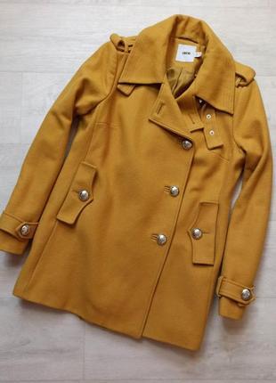 Шерстяное пальто горчичного цвета от asos