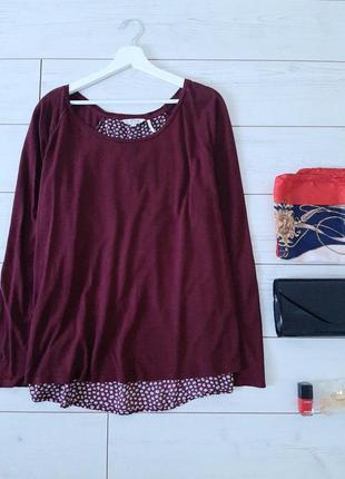 Чудесная кофточка с обманкой блузы _бордо..# 424