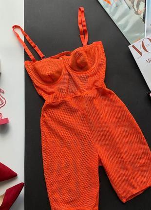 👗восхитительный оранжевый комбез сетка косточки/прозрачный комбез с шортами/велосипедки👗