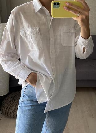 Базовая хлопковая объёмная рубашка f&f