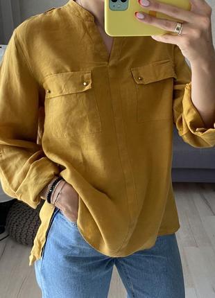 Горчичная льняная рубашка marks&spencer