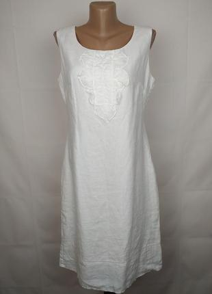 Платье белое льняное шикарное marks&spencer uk 12/40/m