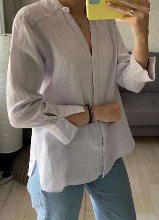 Льняная сиреневая рубашка zara