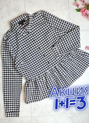 1+1=3 нарядная блузка блуза с длинным рукавом в клетку с баской atmosphere, размер 46 - 48