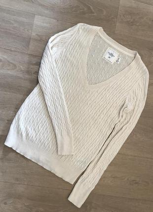 Белый свитер с косами h&m