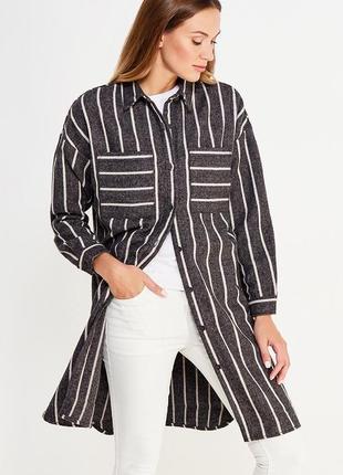 Как новая! трендовая серая удлинённая рубашка куртка