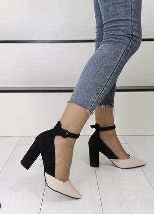 Новые женские чёрно-бежевые  туфли лодочки