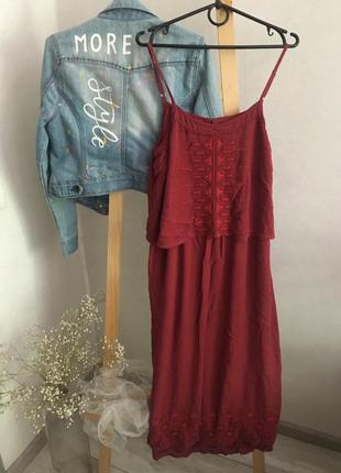 Натуральне плаття-сарафан з вишивкою