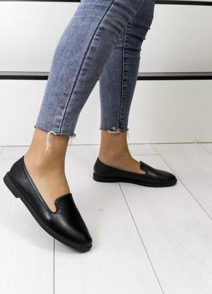 Новые женские чёрные туфли балетки