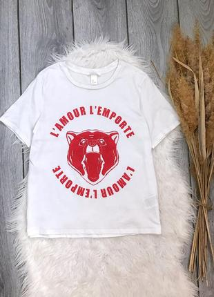 🔥акция 1+1=3🔥 h&m футболка белая с надписью и принтом медведя s 36 8 xs 34 6