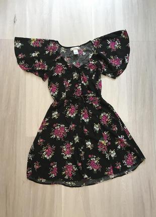 Сукня сарафан плаття на ґудзиках з поясом / платье на пуговицах цветочный принт