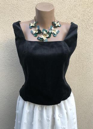 Винтаж,чёрная бархат,велюр блуза,топ-майка,премиум бренд