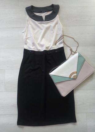 Платье сарафан ysatis англия чёрное белое комбинированное повседневное облегающее
